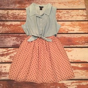 🎇 Miss Chievous Blue & Polka Dot Tie Dress size M